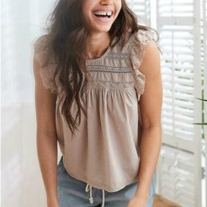 Aerie Sea Breezy Lace Ruffle Sleeve Top